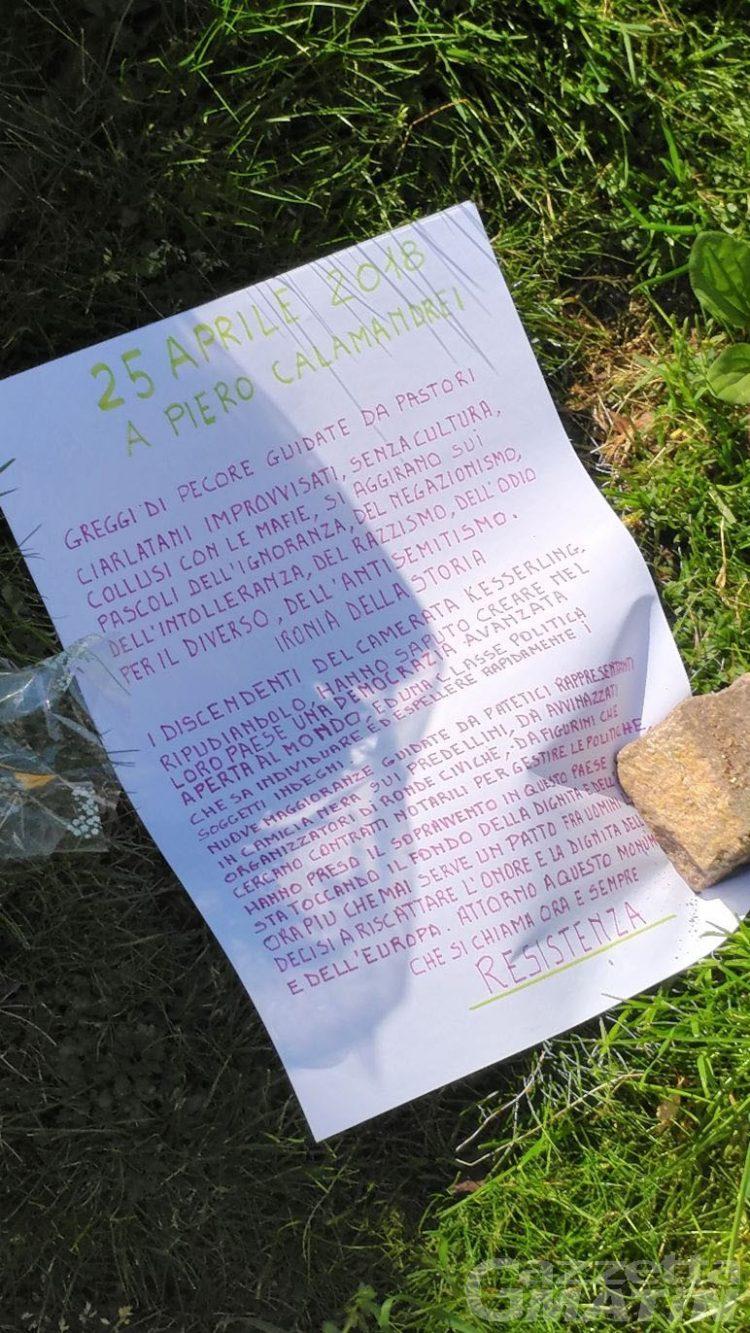 Aosta, giallo per lettera trovata davanti a lapide in ricordo della Resistenza