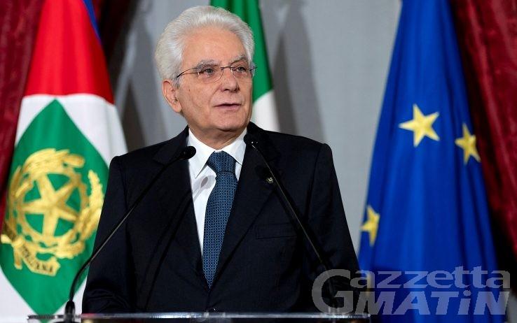 Il Presidente della Repubblica Sergio Mattarella oggi ad Aosta