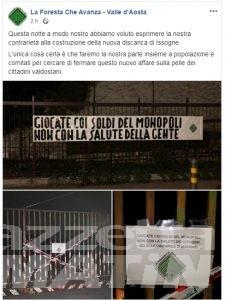 Discarica Chalamy: petizione online e striscioni di protesta