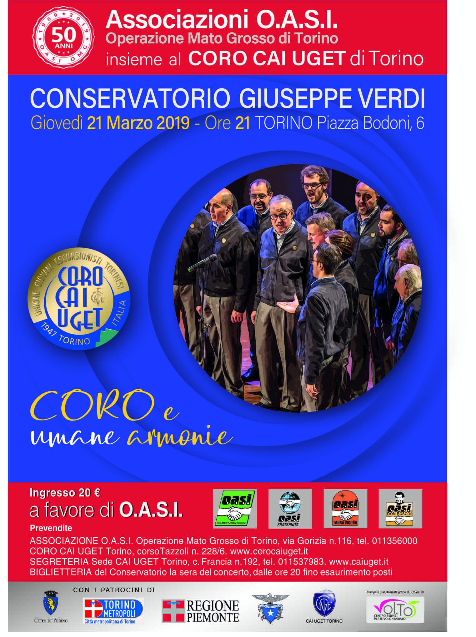 Giovedì 21 marzo il Coro CAI UGET canta al conservatorio di Torino per OASI