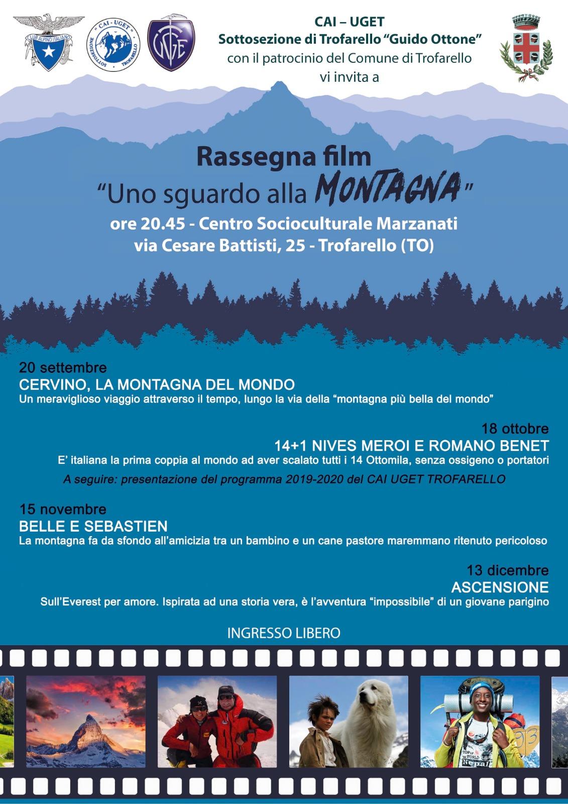 """""""Uno sguardo alla montagna"""", rassegna di 4 film con il Cai di Trofarello. Si comincia il 20 settembre"""