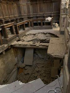 Cedimento della volta retrostante l'altare maggiore della Chiesa di Santa Maria degli Incurabili